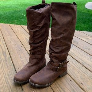 JustFab Domina Brown Buckle Slouch Boot, Size 8